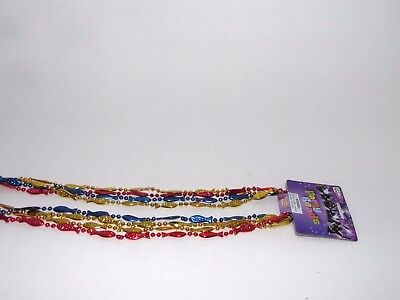 4 Red Gold Blue Fish Bead Party Necklaces Decoration Dress Up Costume Accessory