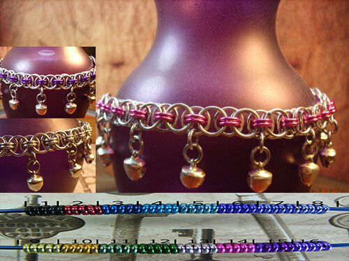 Chainmaille BDSM GOREAN SlaveDancing Bell Anklet Silver Toned Ass. Accents