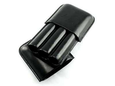 Black Leather 3 Finger 52 Ring Gauge Cigar Case