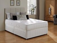 **STRONG BASE ** BRAND NEW DOUBLE DIVAN BED BASE WITH FULL ORTHOPEDIC MATTRESS