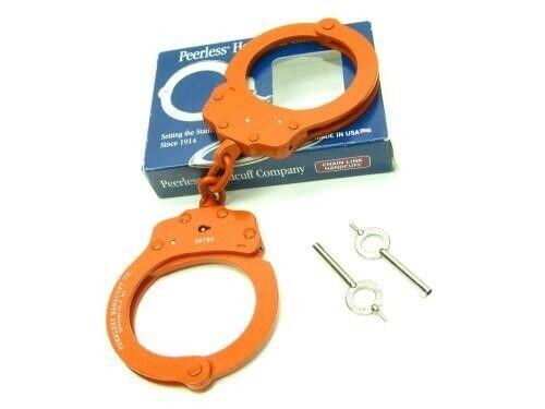 Peerless 4712O Orange Finish 750 Chain Link Police Handcuffs + 2 Keys