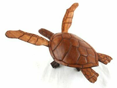 - HAND CARVED WOOD TURTLE CORAL STAND LOG NAUTICAL ART SCULPTURE REPTILE TROPICAL