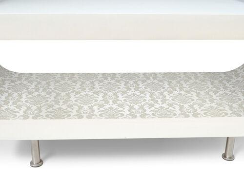 Tv Détails sur titre baroque ovale Blanc Brillant Bois BasseMeuble afficher Rétro Designer d'origine moderne le Table vwn80mN