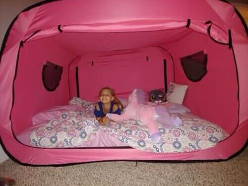 Privacy Pop Eclipse - Bed Tent - Fits Full Size Bed / Pink