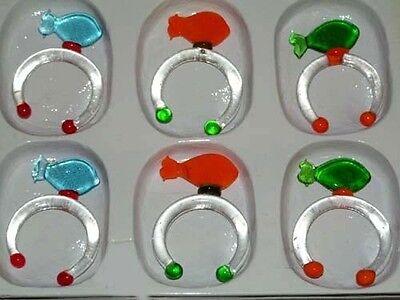 6´er Set trendy Glas Serviettenringe im Fischdesign Farbmix Tischdeko TOP x 2788