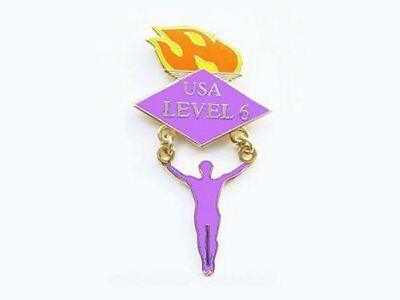 Men's Level 6 Gymnastics Lapel Pin - CREATIVE GYMNAST ON RINGS DESIGN