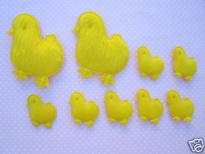 40 Easter Little Yellow Chick Felt Applique/chicken/bow/baby/trim/sewing/bow L17