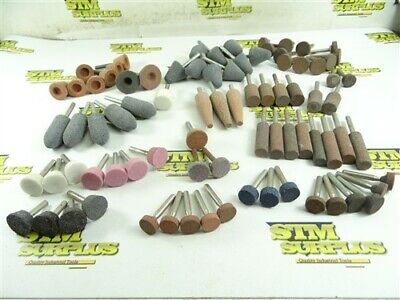 "82 NEW! ABRASIVE MOUNTED POINTS- ASSORTED SHAPES 1/4"" SHANKS POINTED TREE +++"