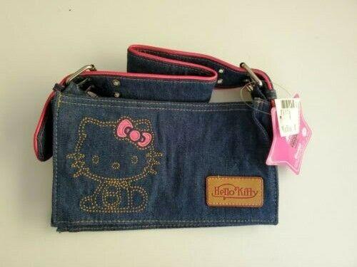 HTF NWT Hello Kitty Sanrio Blue Denim Small Bag 30th Anniversary