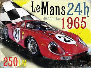 le mans 24h 1965 ferrari 250lm race car classic motorsport large metal tin sign ebay. Black Bedroom Furniture Sets. Home Design Ideas