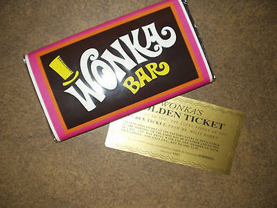 7 oz. sized Willy Wonka chocolate bar WRAPPER & GOLDEN TICKET (no chocolate)