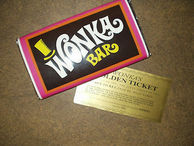 Купить 7 oz. sized Willy Wonka chocolate bar WRAPPER & GOLDEN TICKET (no chocolate)