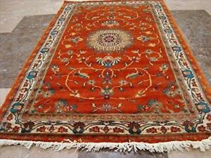 Wow Copper Ivory Floral Oriental Area Rug Hand Knotted Wool Silk Carpet (5 X 3)'