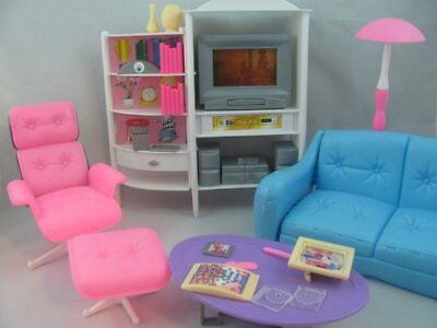 gloria Barbie Size Doll House Furniture Family Room TV Couch Ottoman