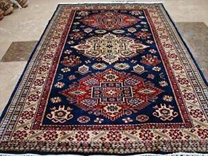 Super Shirvan Kuba Fine Caucasion Geometric Area Rug Hand Knotted Carpet (6 x 4)'