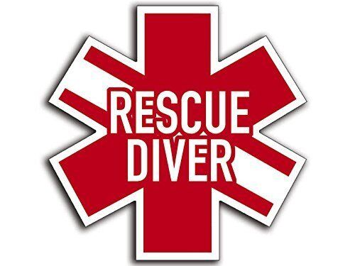 Star of Life Shaped RESCUE DIVER Sticker (scuba dive diving decal) 2""