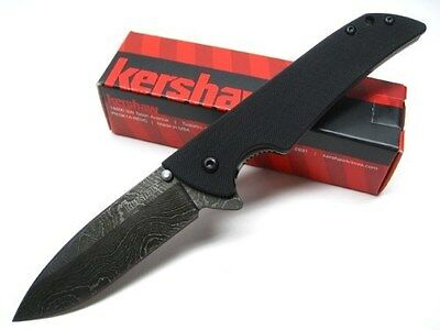 KERSHAW Black G-10 SKYLINE Straight DAMASCUS Folding Pocket Knife! 1760DAM