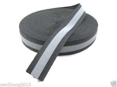 20m Reflective Tape Strip Sew-on Silver Black Fabric Trim Safty Vest Width 1