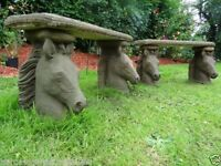 Pair Antique York Style Reproduction Stone Horse Heads Flat Top Garden Benches