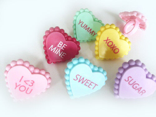 12 Plastic Conversation Heart Valentines Day Cupcake Rings C