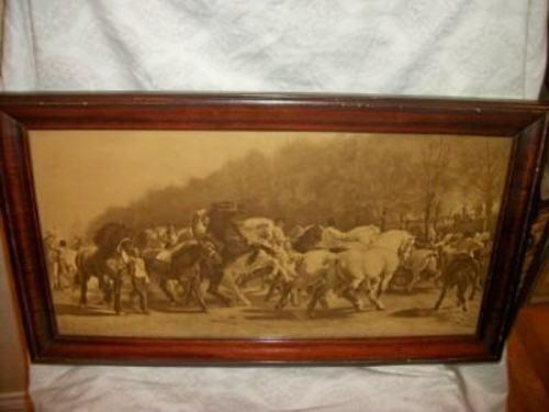 ANTIQUE FRENCH MID 19th C. SEPIA PRINT ROSA BONHEUR THE HORSE FAIR MAHOGANY - $275.99
