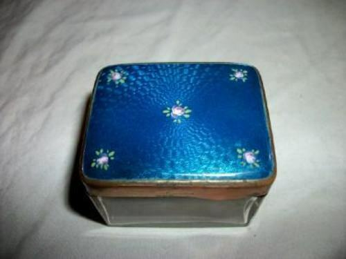 ANTIQUE GERMANY GUILLOCHE VANITY TRINKET BOX HP ROSES BLUE CIRCA 1900 STUNNING