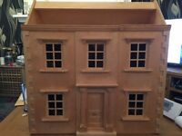 large wooden Georgian dolls house and wooden furnature
