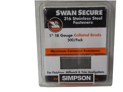 Simpson Swan Secure T18n100fnb 18-gauge 316 Stainless Steel 1-inch Brad Nails