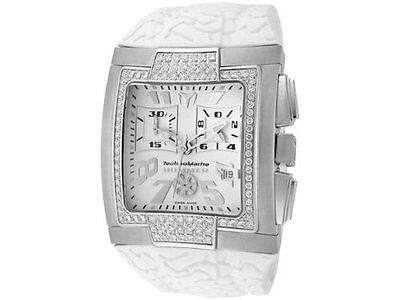 New  Mens TechnoMarine DXSMSHW Chronograph Diamond Bezel White Rubber Watch
