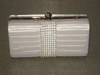 New, Ladies Satin Diamante Ruffle Clutch Bag