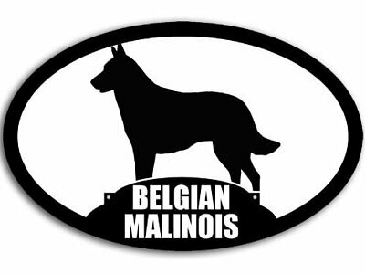 3x5 inch Oval Belgian Malinois Silhouette Sticker (Dog Breed)
