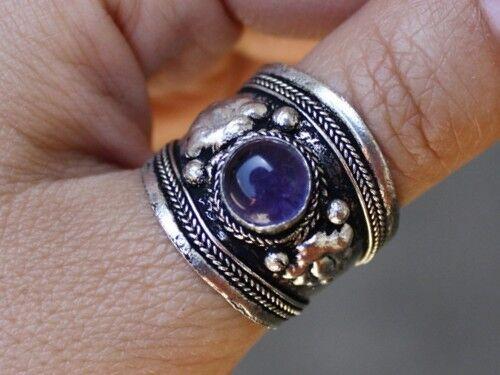 Wide Adjustable Tibetan Round Amethyst Gemstone Dorje Amulet Ring Thumb Ring