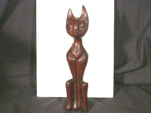 vintage Hand Carved Mid Century Modern Wood Siamese Cat Cubist Sculpture