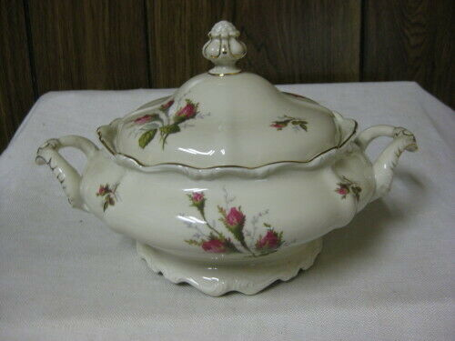 Rosenthal Moss Rose Round Covered Vegetable Bowl Pompadour Shape Moss Roses