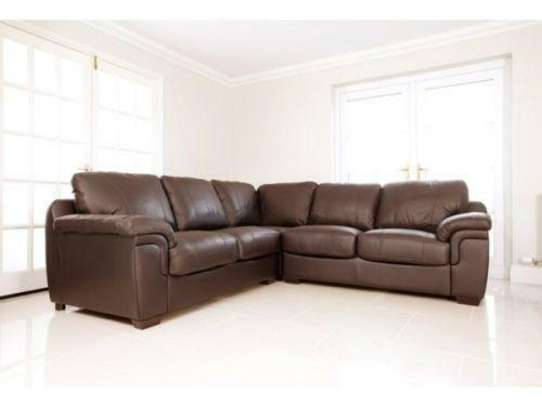 large brown leather corner sofa ebay. Black Bedroom Furniture Sets. Home Design Ideas