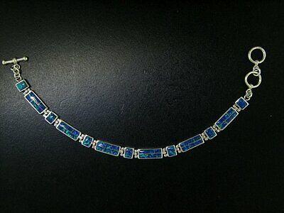 Link Bracelet in Sterling Silver with Bright Blue Created Opal Inlay Links Blue Created Opal Inlay Bracelet