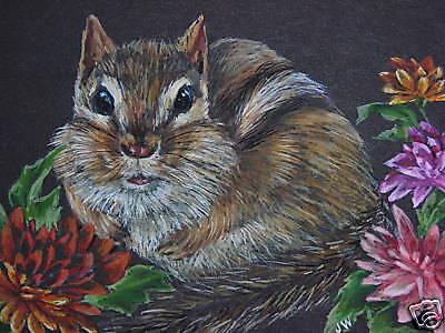 ( Chipmunk animal wildlife Fall Mum print of Painting)