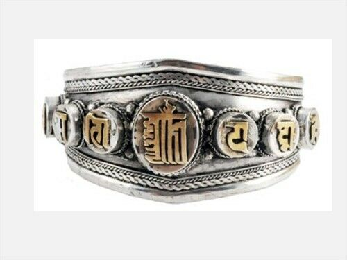Huge Tibetan Delicately Carved Golden Kalachakra Syllable OM Mani Cuff Bracelet