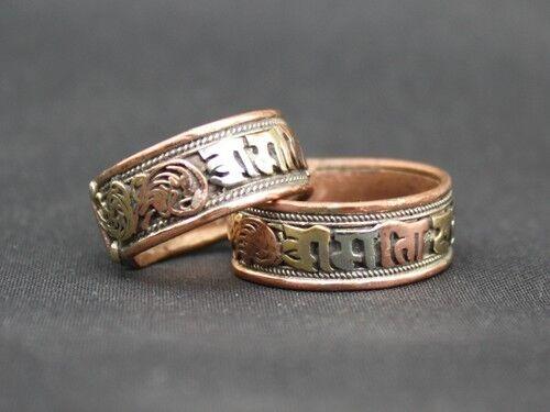 Pair Tibetan 3-color Copper Lotus Filigree Carved OM Mani Amulet Ring