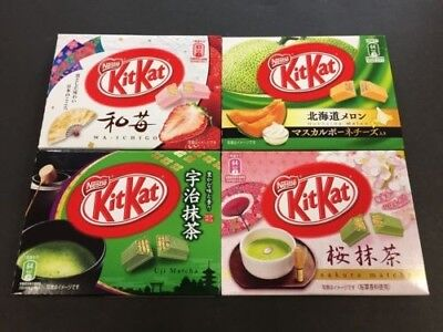 Limited Kit Kat Melon Sakura Uji Matcha Ichigo Chocolate Mini 3 Packs,Set of 4