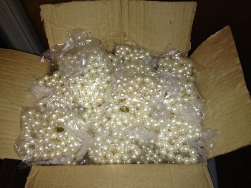 """Wholesale Lot - Faux Pearl Mardi Gras Necklace 46""""  - 18 Dozen - Heavy Necklace"""