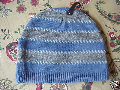 NWT Men's Wool & Acrylic Knit Hat Blue Gray Stripe OSFM Blue Stripe Wool Hat