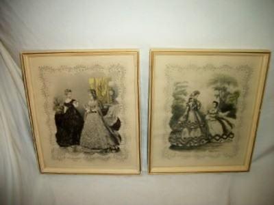 Antique La Mode Godey Lady 19th Century French Fashion Prints Pr Unique Color