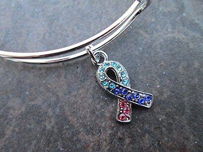 Thyroid Cancer Awareness Adjustable Bangle Bracelet With Rhinestone Ribbon