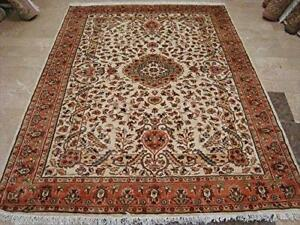 Wow Ivory Medallion Vaas Rectangle Area Rug Hand Knotted Wool Silk Carpet (8 x 6)'