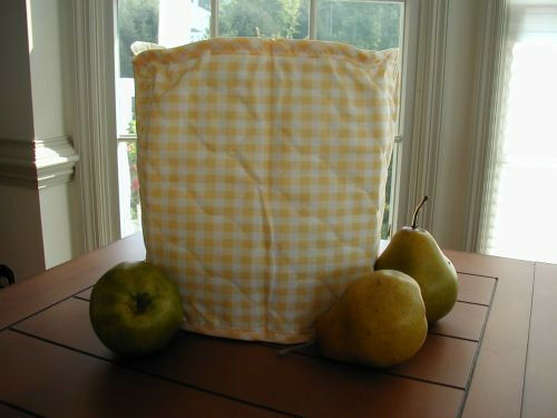 Yellow Gingham 4 Qt. Crockpot Etc Appliance Cover Round