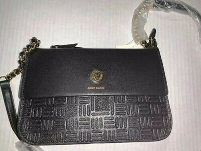 Anne Klein Embossed Lion Tz Crossbody Purse - Black - New With Tags