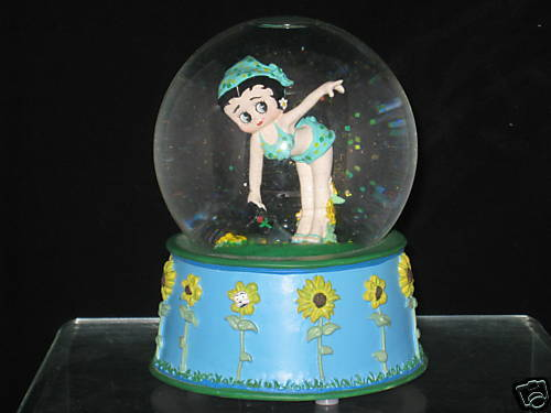 New Betty Boop Musical Spring Fever Waterglobe Sunflower