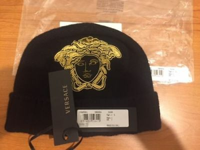 VERSACE 100% Cashmere Black Knitted Beanie Hat with Gold Medusa Embroidery  M