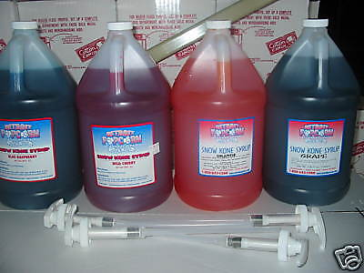Snow Cone Syrup (4) Gallons Mix & Match With (4) Pumps